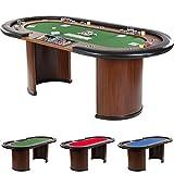 TABLE de POKER, 3 couleurs de tapis, 215 cm, jusqu'à 9 personnes (vert)