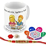 Indigifts Rakhi Gifts For Brother Siblings As Best Friends Quote Printed Gift Set Of Mug 330 Ml, Crystal Rakhi For Brother, Roli, Chawal & Greeting Card - Rakshabandhan Gifts For Brother, Rakhi For Brother With Gifts, Raksha Bandhan Gifts, Brother Cof