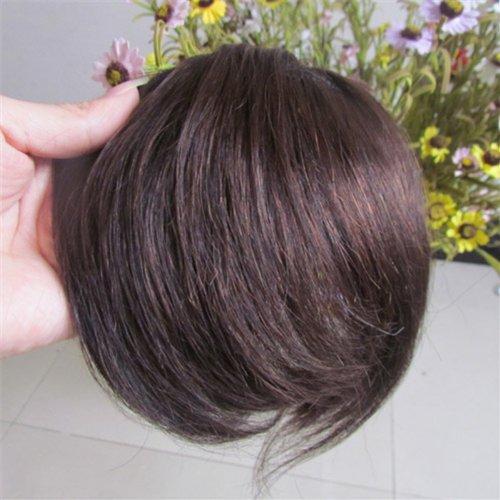 20,3 cm Marron foncé (# 02) Vrais Cheveux Humains Cheveux Fashion avant Neat Bang franges One cheveux