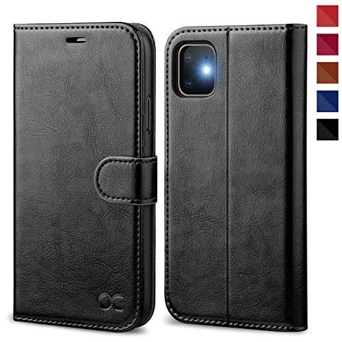 OCASE iPhone 11 Hülle Handyhülle [Premium Leder] [Standfunktion] [Kartenfach] [Magnetverschluss] Tasche Flip Case Cover Etui Schutzhülle lederhülle klapphülle für iPhone 11 Schwarz