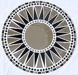 Wandspiegel Deko Spiegel Mosaik Einlegearbeit Handarbeit 50cm rund Holz