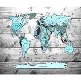 decomonkey Fototapete Weltkarte Landkarte Kontinent 250x175 cm XL Design Tapete Fototapeten Vlies Tapeten Vliestapete Wandtapete moderne Wand Schlafzimmer Wohnzimmer Türkis Blau FOB0217c5XL