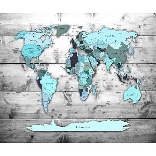 decomonkey Fototapete Weltkarte Landkarte Kontinent 350x256 cm XXL Design Tapete Fototapeten Vlies Tapeten Vliestapete Wandtapete moderne Wand Schlafzimmer Wohnzimmer Türkis Blau FOB0217c73XL
