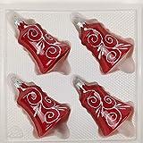 4 TLG. Glas-Glocken Set in Hochglanz Modern Rot Weisse Ornamente Edle Neuheit - Christbaumkugeln - Weihnachtsschmuck-Christbaumschmuck