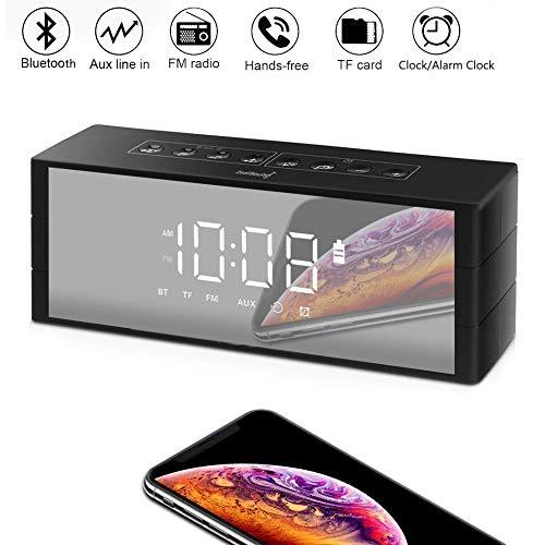 ZealSound Radio Bluetooth, Multifunktions Bluetooth-Lautspreche Wecker mit Radio, Uhr, Bluetooth Lautsprecher mit LED Bildschirm, Bluetooth Wecker mit UKW-Radio/TF-Karten-Slot für iPhone/Android