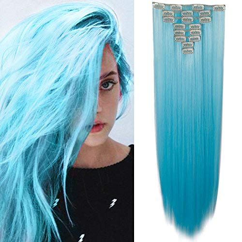 Extension capelli a clip blu 65cm 26pollici lunghi lisci 8pezzi full head hair extensions effetto naturale