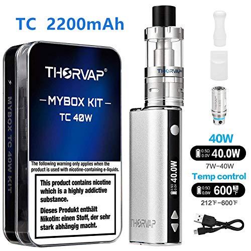 Sigaretta elettronica,thorvap tc 40w 2200mah oled box mod svapo kit, batteria con modalità vw/tc,ss arctic resistenza/2.0ml atomizzatore sigaretta elettronica- senza liquido,senza nicotina (argento)