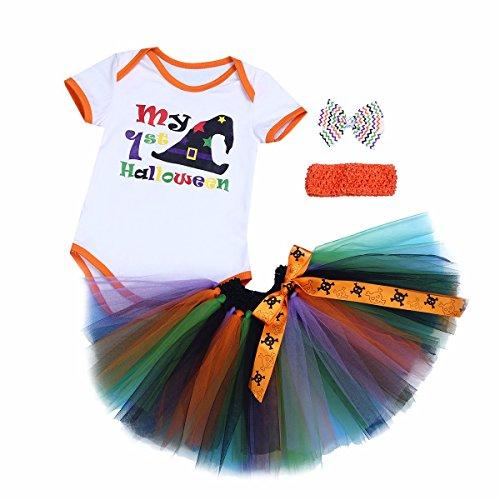 YiZYiF Neugeborenes Baby Mädchen Bekleidungsset Outfits Kürbis Halloween Kostüm Kurzarm Strampler Overall mit Tütü Röckchen + Stirnband + Beinwärmer + Schuhe (9-12 Monate, Weiß + Orange Stirnband)