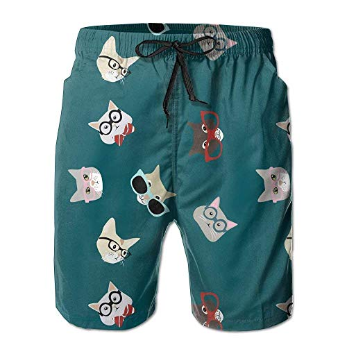 KAKICSA Mens Beach Shorts, Cool Funny Cats Swimming Beach Board Shorts for Men Boys, Outdoor Short Pants Beach Accessories,Size:XL