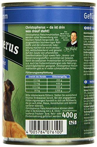 Christopherus Alleinfutter für Hunde, Nassfutter, Erwachsener Hund, Geflügel/ Lamm, Fleischmahlzeit 400 g - 3