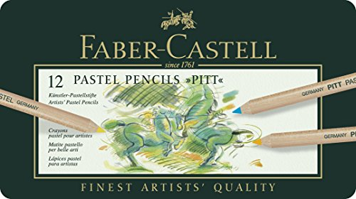 Faber-Castell 112112 – Estuche de metal con 12 ecolápices Pitt pastel, multicolor