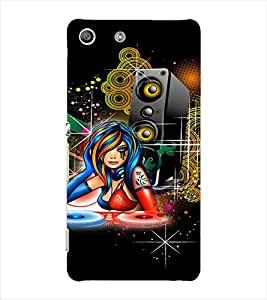 Fuson DJ Music Girl Back Case Cover for SONY XPERIA M5 - D4070