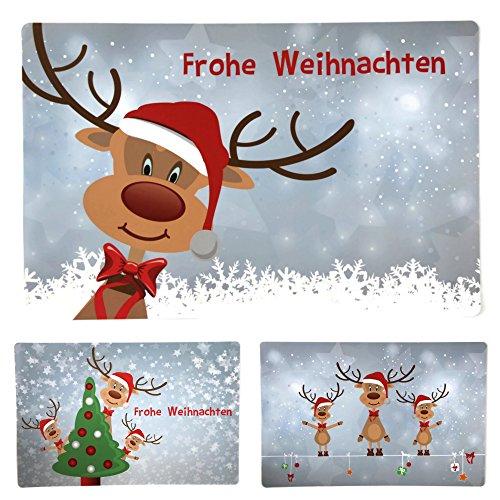 Bada Bing 6er Set Tischset Weihnachten Rentier Rudolph Kinder -