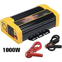 Vetomile - 1000W Spannungswandler Wechselrichter mit 4 Externe Sicherungen (EU/DE Steckdose, DC 12V auf 230V AC, 2 Steckdosen, 2 x 2.1A USB Ports, LED, Modifizierte Sinuswelle, Auto Power Inverter)