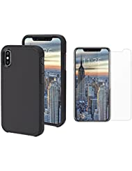 Elitehood iPhone case Simple Stylish Fully Protective Matt Cover for Apple iPhone X 360 Protective Shock-Absorption with Free Screen Protector Space Black