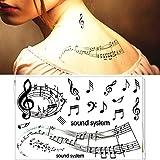 Modeganqing 8 pièces Ensemble imperméable à l\'eau temporaire Autocollant de Tatouage Note de Musique Totem Fille Femelle Autocollant de Tatouage Tatouage Flash Tatoo