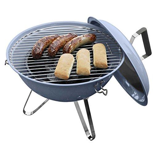 Dangrill Mini Grill Kugelgrill Kohlegrill Holzkohlegrill blau Ø37x44cm für Terrasse Camping Garten Picknick Festival BBQ