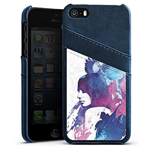 Apple iPhone 4 Housse Étui Silicone Coque Protection Femme Femme Imagination Étui en cuir bleu marine