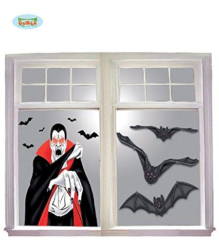 Fiestas Guirca GUI19781 - Vampir Fenster-Dekoration, 100x76 cm (Fenster Leuchtet Halloween)
