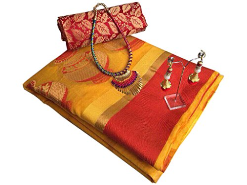 SilverStar Women's Cotton Silk Matka jacquard Work Saree With Heavy Brocade Work...
