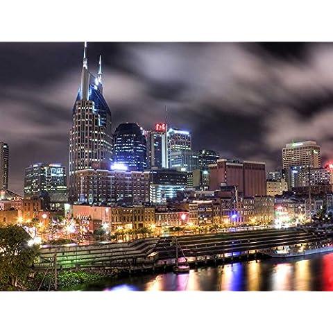 Nashville, Tennessee - arte stampa su tela (32 x 60,96 cm, senza cornice)