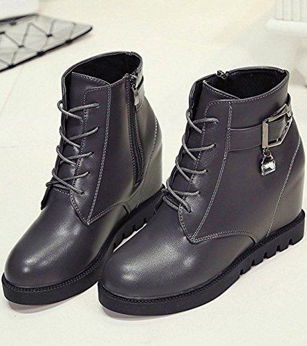 Minetom Donna Autunno Inverno Stringate Martin Boots Zeppa Stivali Altezza Crescente Scarpe Stivali Grigio
