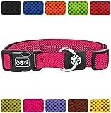 DDOXX Hundehalsband Air Mesh | für große & Kleine Hunde | Katzenhalsband | Halsband | Halsbänder | Hundehalsbänder | Hund Katze Katzen Welpe Welpen | klein breit Leuchtend bunt | Pink, XS