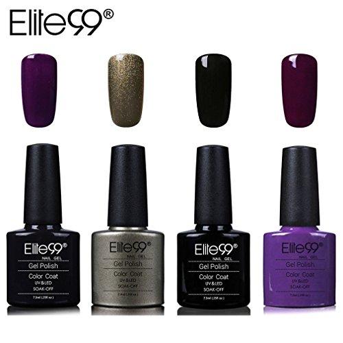 Elite99 Vernis Semi permanent Vernis à Ongles Gel UV LED Soakoff 4pcs Kit Manicure Pour Ongle 7.3ml - Kit007