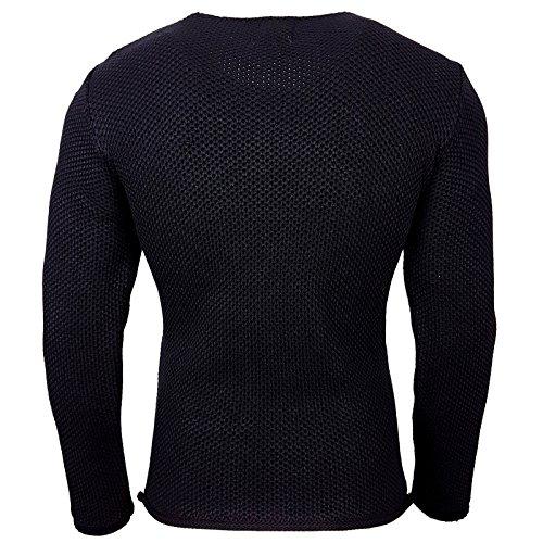 Herren Pullover RN13249 Grobstrick Strick Strickjacke Pulli Sweatshirt Sweat Neu Marine