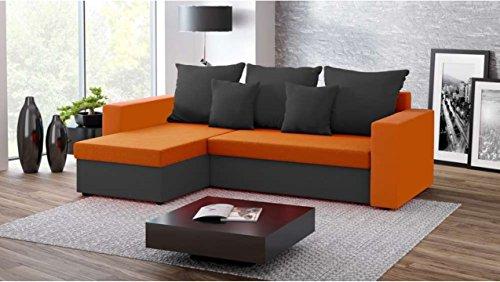 Justhome fresh i divano angolare divano letto microfibra (lxlxa): 142x237x75 cm nero arancio penisola a sinistra