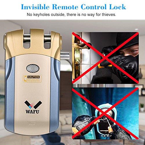 WAFU WF-018U Cerradura Inteligente Inalámbrica Cerradura Invisible Cerradura Control Remoto Desbloqueo de iOS Android APP con 4 Control Remotos Sistema de Seguridad de Acceso, Azul+Oro