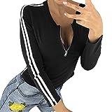 OSYARD Damen T-Shirt Oberseiten Pullover Sweatshirt, Frauen Tunika Hemd Kleidung mit Reißverschluss O-Ausschnitt Gestreift Splice Langarm Top Bluse Sport Kurze Pulli Strickpullover(XL, Schwarz)