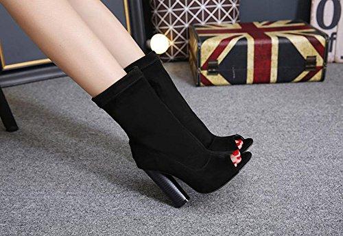 Aisun Damen Sexy Peep Toe Blockabsatz High Heels Halbschaft Sommerstiefel Sandale Mit Reißverschluss Schwarz