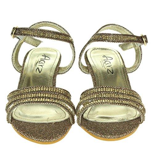 Filles Enfant Diamante Open Toe Talon Bas Sangle de cheville Soir Mariage Fête Sandales Chaussures Taille Marron