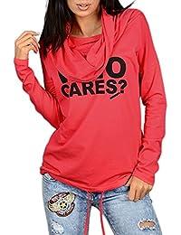 Minetom Mujer Camiseta Impresión Manga Larga Con Capucha Sudaderas Casual Camisa Blusa T-shirt Blouses Pullover