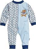 Playshoes Unisex Baby Schlafstrampler Schlafoverall Single-Jersey Bär, Blau (original 900), (Herstellergröße: 74)