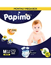 Papimo Diapers Pants with Aloe Vera Monthly Box Pack, Medium (152 Count)