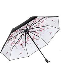 Paraguas Plegables Paraguas Solar Ultraligero Hembra Súper Protector Solar Paraguas de plástico Negro Paraguas Antihumedad Lluvia