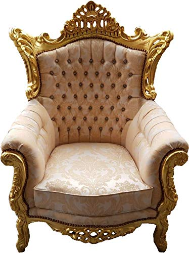 Casa-Padrino Sillón Barroco 'Al Capone' Mod4 Cream Pattern/Gold Furniture - Estilo Antiguo -...