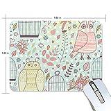Basics - Tappetino per mouse con gufi e gabbia per uccelli, 25 x 20 x 0,5 cm