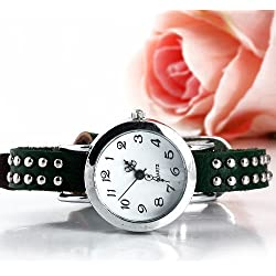 2014 new ladies watch brand Vintage Genuine Cow leather women's wristwatches Rivet punk Quartz women dress watch
