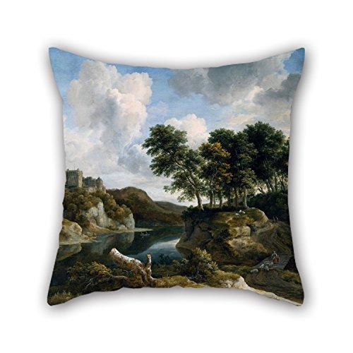 loveloveu die Ölgemälde Jacob van Ruisdael–Fluss Landschaft mit einer Burg auf eine hohe Cliff Kissen von 45,7x 45,7cm/45von 45cm Dekoration Geschenk für Home Teens Paare Jungen Zeichnen Zimmer