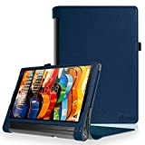 Fintie Lenovo Yoga Tab 3 Plus / Yoga Tablet 3 Pro Hülle - Folio Premium Kunstleder Schutzhülle Tasche Cover mit Standfunktion für Lenovo Yoga Tab 3 Plus / Lenovo Yoga Tablet 3 Pro 25,6 cm (10,1 Zoll) Tablet-PC (Not für Lenovo Yoga Tab 3 10), Marineblau