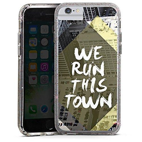 Apple iPhone 7 Bumper Hülle Bumper Case Glitzer Hülle City Stadt Phrases Bumper Case Glitzer rose gold