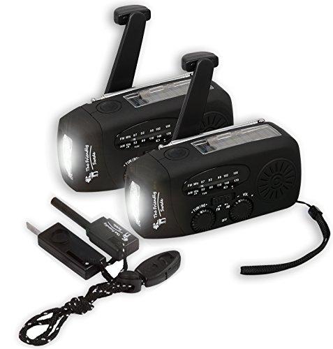2 er-Set The Friendly Swede Handkurbel Camping Radio mit Taschenlampe und Feuerstahl, Batterieloses Notfallradio mit Solar und Dynamo-Betrieb, Smartphone-Ladefunktion, FM/AM (schwarz)