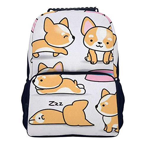 Schulrucksack, Kawaii Yellow Dog Puppy Shoulders Backpack Casual Two Mesh Side Pockets Laptop Bag for Adults and Children (Side Bag Laptop)