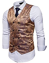 cfb9b172c5 UUAISSO Hombre Paisley Elegante Chaleco Traje Slim Fit Waistcoat