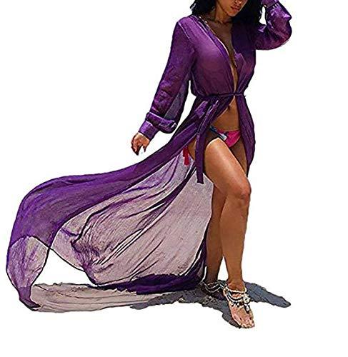 Schiere Lila Kleid (CHRONSTYLE Damen Chiffon Kimono Bikini Cover up Maxi Kleid Lang Sommer Boho Chiffon Kimono Stil Gedruckt Tops Jacke Cardigan Blusen Beachwear (lila, S))