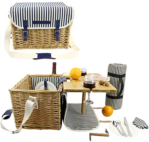 HappyPicnic Picnic Basket with Portable Wine Table -
