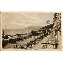 1927 Loano - Un Saluto da Loano, vista lungo spiaggia - FP B/N VG ANIM Cartolina Postale